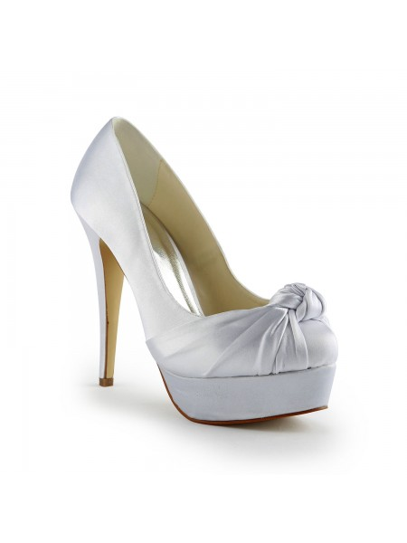 SheenOut Gorgeous Satin Stiletto Heel Pumps With Ruched White Wedding Shoes S120113A