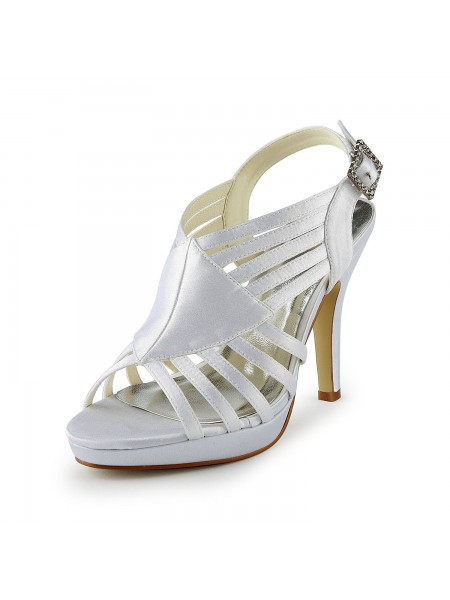 d1c2525de1f191 SheenOut Gorgeous Satin Stiletto Heel Sandals With Buckle White Wedding  Shoes S137033