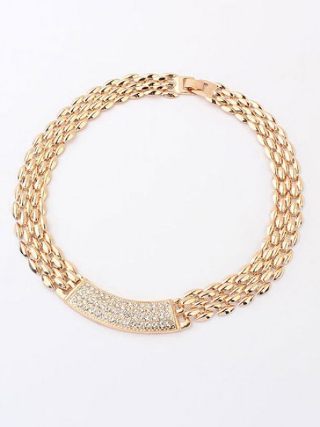 SheenOut Simple Exquisite Metallic with diamonds Necklace