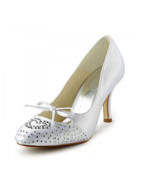 SheenOut Lovely Satin Stiletto Heel Closed Toe With Rhinestone White Wedding Shoes S1A31B14