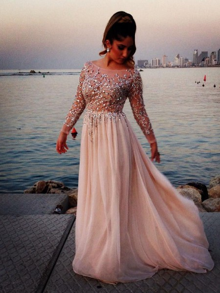 A-Line Princess Pearl Pink Chiffon Floor-Length Dresses with Beading 320af1f9f