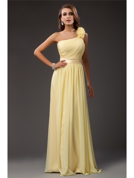 Sheath/Column Daffodil Chiffon Floor-Length Dresses with Ruffles