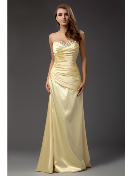 Sheath/Column Daffodil Taffeta Floor-Length Dresses with Beading