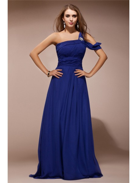 Sheath/Column Royal Blue Chiffon Floor-Length Dresses with Ruffles