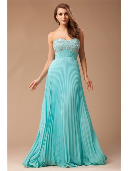 Empire Green Chiffon Floor-Length Dresses with Beading