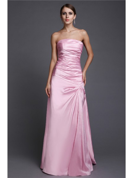 A-Line/Princess Pink Elastic Woven Satin Floor-Length Dresses with Beading