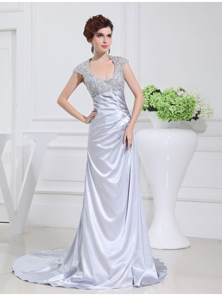 A-Line/Princess Silver Elastic Woven Satin Sweep/Brush Train Dresses with Beading