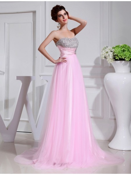 A-Line/Princess Pink Satin , Tulle Sweep/Brush Train Dresses with Beading