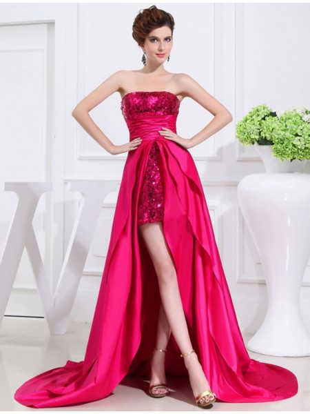 A-Line/Princess Burgundy Taffeta Asymmetrical Dresses with Applique