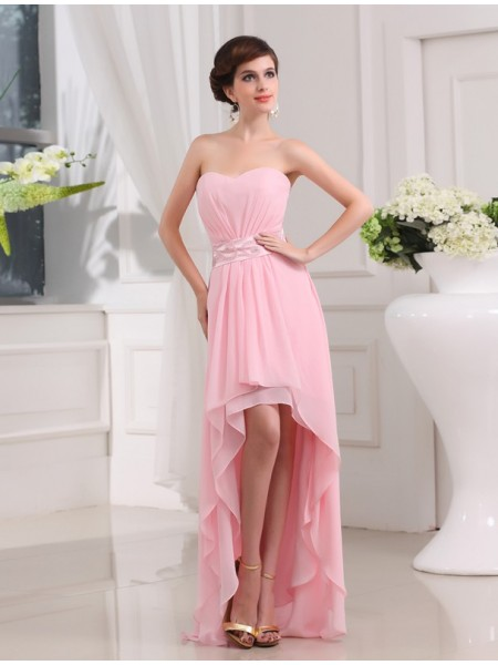 A-Line/Princess Pearl Pink Chiffon Asymmetrical Dresses with Beading