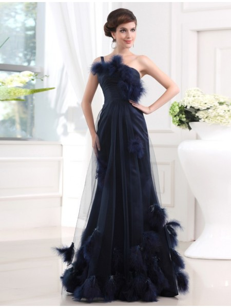 Trumpet/Mermaid Dark Navy Satin , Tulle Floor-Length Dresses with Feathers/Fur