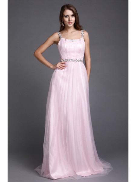 A-Line/Princess Pink Net Floor-Length Dresses with Rhinestone