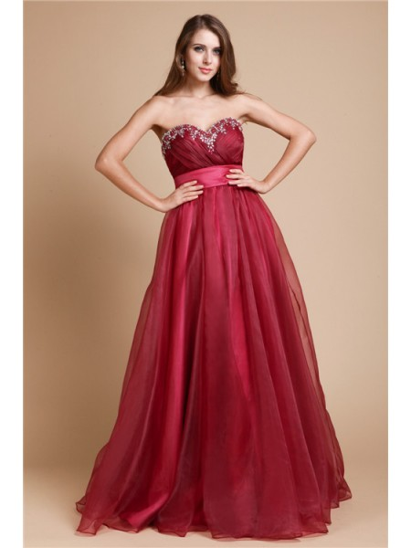 A-Line/Princess Burgundy Organza Floor-Length Dresses with Beading