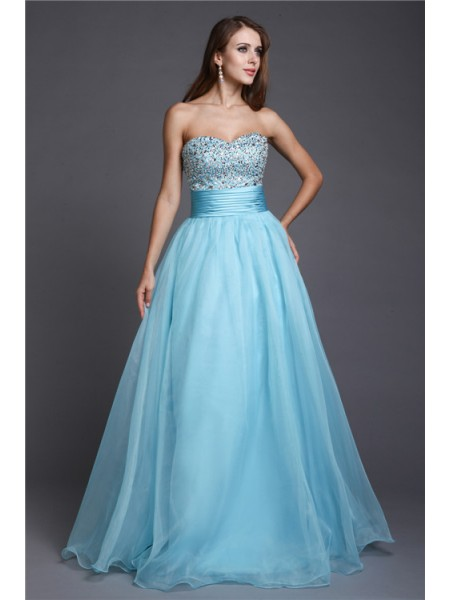 A-Line/Princess Blue Organza Floor-Length Dresses with Beading