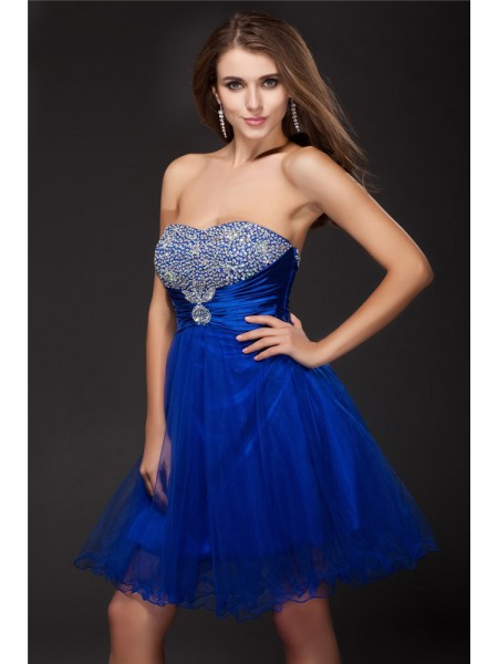 A-Line/Princess Royal Blue Elastic Woven Satin , Net Short/Mini Homecoming Dresses with Beading