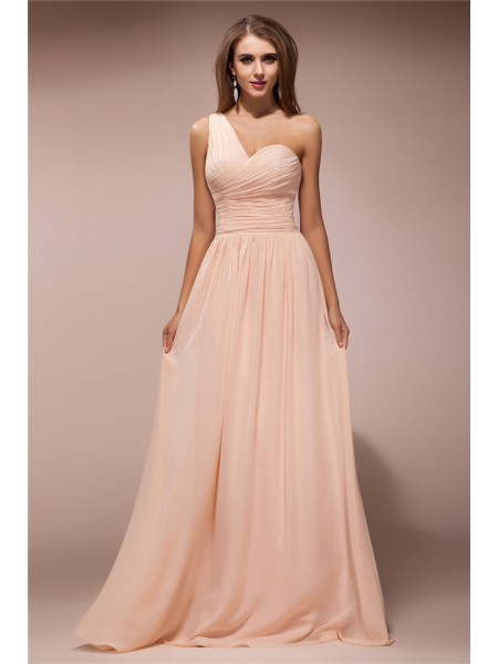 Sheath/Column Pearl Pink Chiffon Floor-Length Dresses with Ruffles