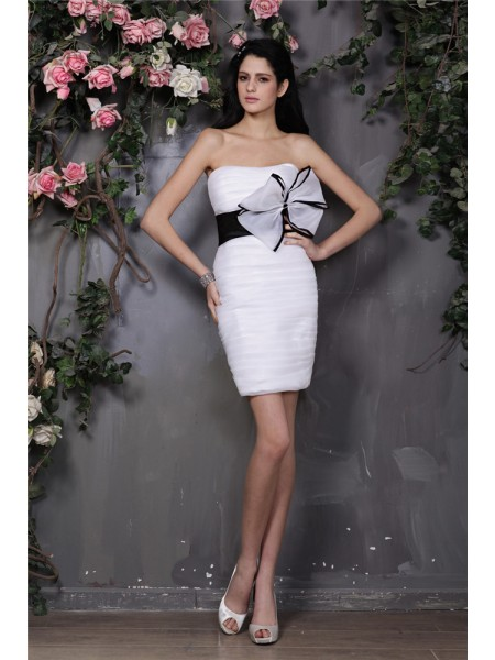 Sheath/Column White Organza Short/Mini Homecoming Dresses with Bowknot