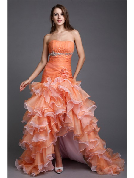 Ball Gown Orange Organza Asymmetrical Dresses with Beading