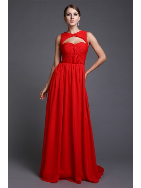 A-Line/Princess Red Chiffon Sweep/Brush Train Dresses with Ruffles