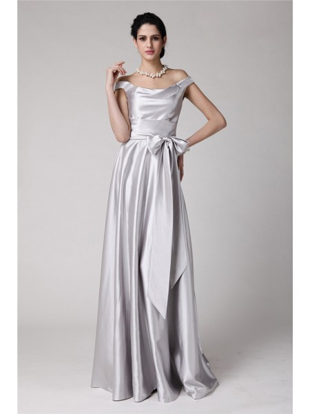 Sheath/Column Silver Elastic Woven Satin Floor-Length Evening Dresses with Sash/Ribbon/Belt