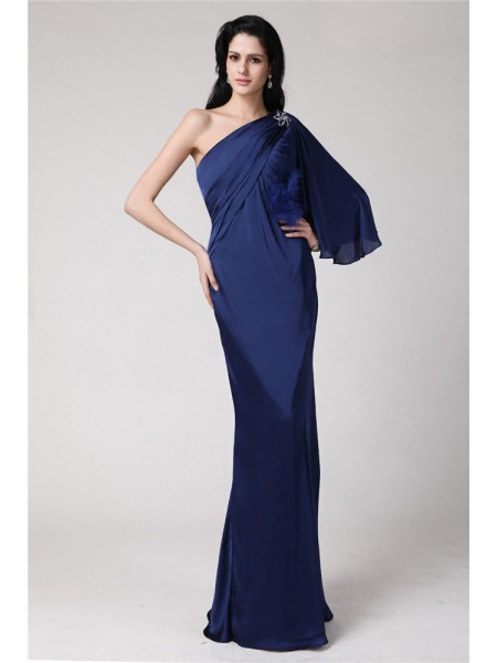 Trumpet/Mermaid Dark Navy Chiffon Floor-Length Dresses with Feathers/Fur