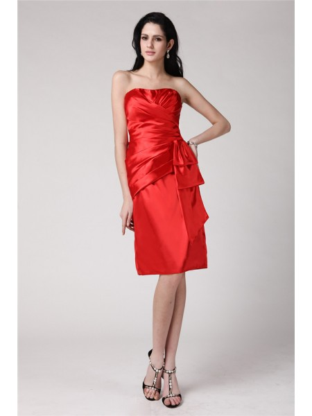 Sheath/Column Red Elastic Woven Satin Knee-Length Homecoming Dresses with Pleats