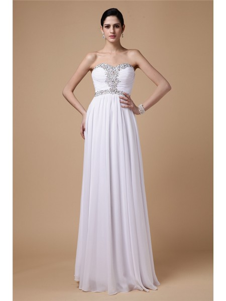 Sheath/Column White Chiffon Floor-Length Dresses with Beading