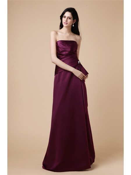 A-Line/Princess Burgundy Satin Floor-Length Dresses with Beading