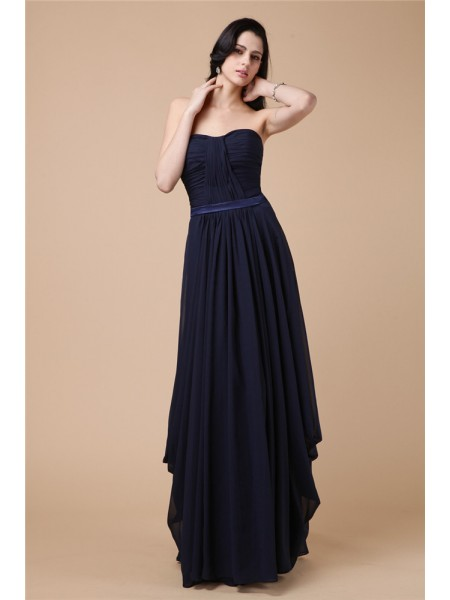 Sheath/Column Dark Navy Chiffon Floor-Length Dresses with Pleats