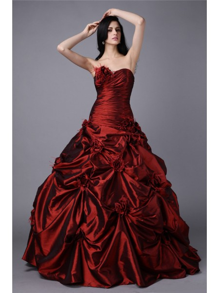 Ball Gown Burgundy Taffeta Floor-Length Dresses with Hand-Made Flower
