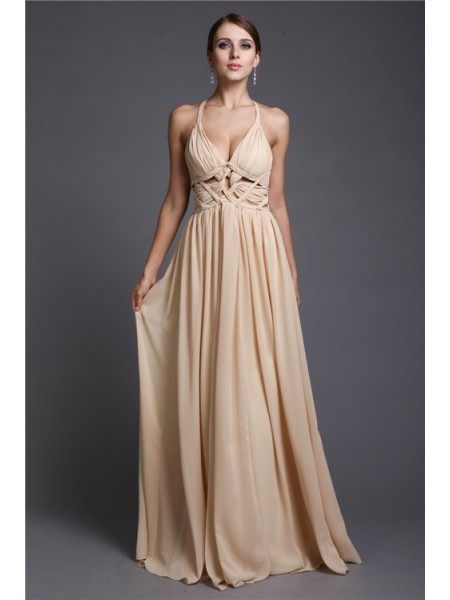 A-Line/Princess Champagne Chiffon Floor-Length Dresses with Ruffles