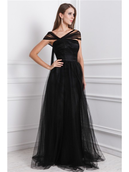 A-Line/Princess Black Net Floor-Length Dresses with Ruffles