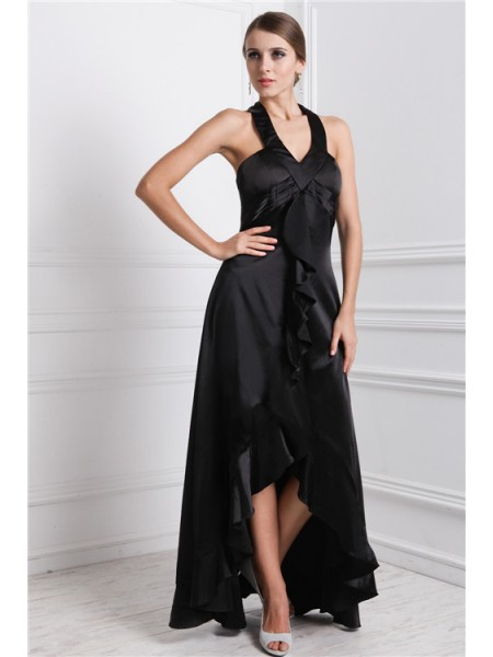 A-Line/Princess Black Silk like Satin Asymmetrical Dresses with Ruffles