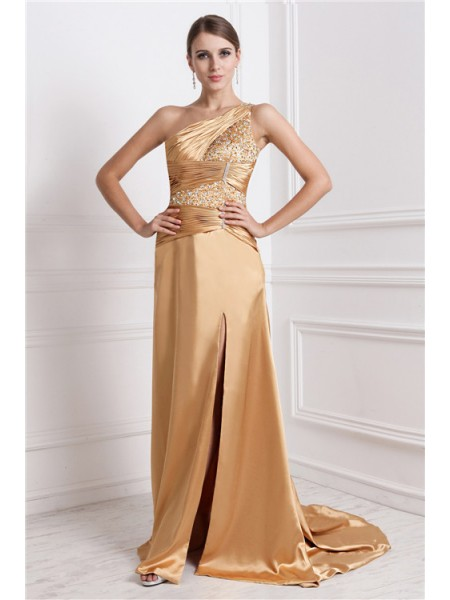 A-Line/Princess Gold Elastic Woven Satin Sweep/Brush Train Dresses with Beading
