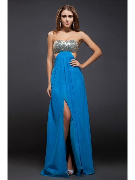 Sheath/Column Royal Blue Chiffon Floor-Length Dresses with Sequin