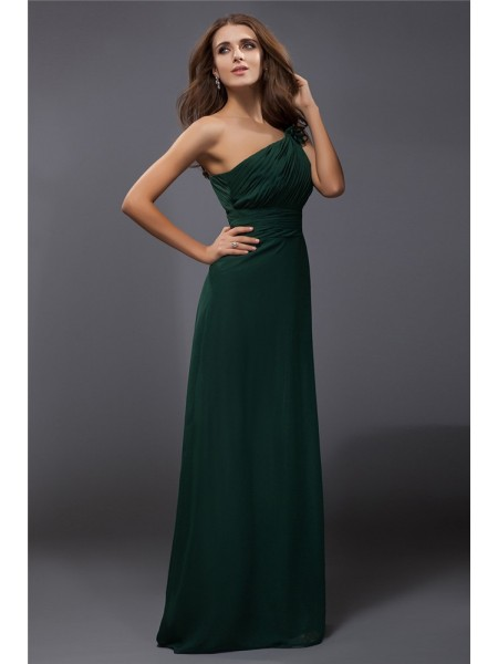 Sheath/Column Hunter Green Chiffon Floor-Length Dresses with Ruffles