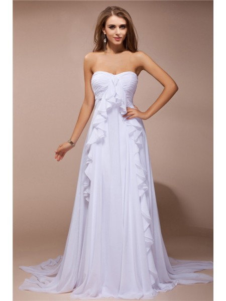 Sheath/Column White Chiffon Sweep/Brush Train Dresses with Ruffles
