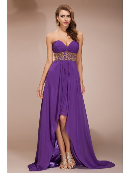 A-Line/Princess Lilac Chiffon Asymmetrical Dresses with Beading