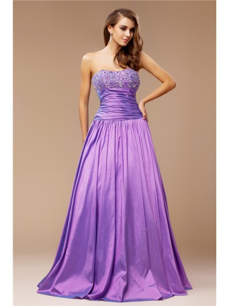 A-Line/Princess Lavender Taffeta Floor-Length Dresses with Beading
