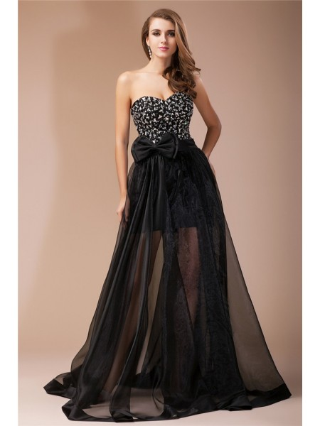 Sheath/Column Black Elastic Woven Satin , Organza Floor-Length Dresses with Beading