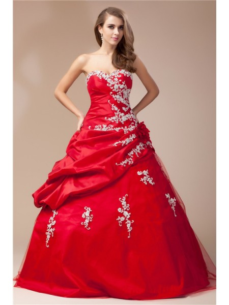 Ball Gown Red Taffeta