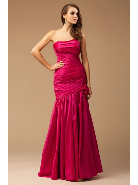 Trumpet/Mermaid Fuchsia Taffeta Floor-Length Dresses with Ruffles