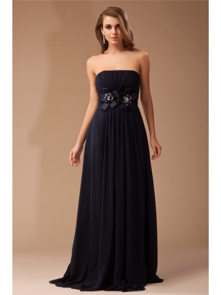 Sheath/Column Black Chiffon , Elastic Woven Satin Floor-Length Dresses with Ruffles