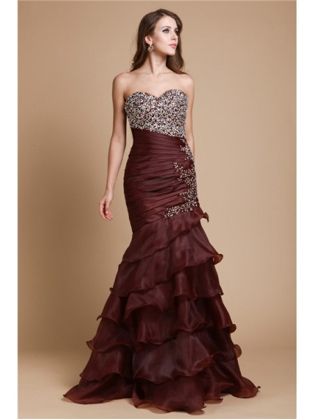 Trumpet/Mermaid Chocolate Organza Floor-Length Dresses with Beading