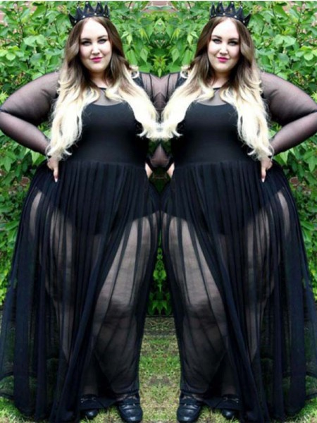 A-Line/Princess Sheer Neck Long Sleeves Ruched Floor-Length Chiffon Plus Size Dresses