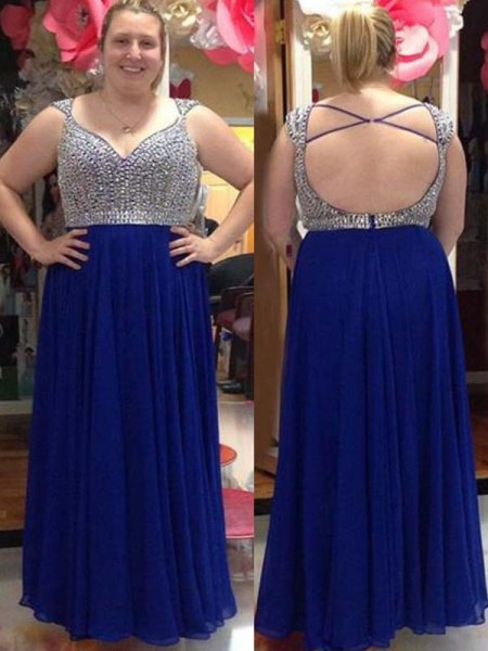 A-Line/Princess Straps Sleeveless Beading Floor-Length Chiffon Plus Size Dresses