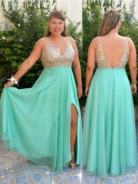 A-Line/Princess V-neck Sleeveless Beading Floor-Length Chiffon Plus Size Dresses