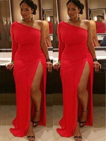 Sheath/Column One-Shoulder Long Sleeves Ruched Floor-Length Spandex Plus Size Dresses