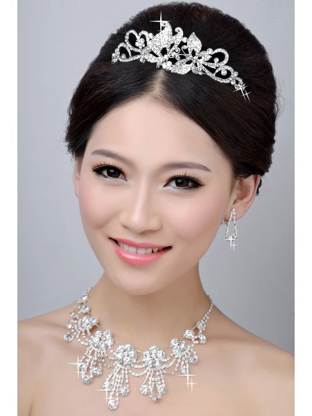New Style Nice Alloy Clear Crystals Wedding Headpieces Necklaces Earrings Set