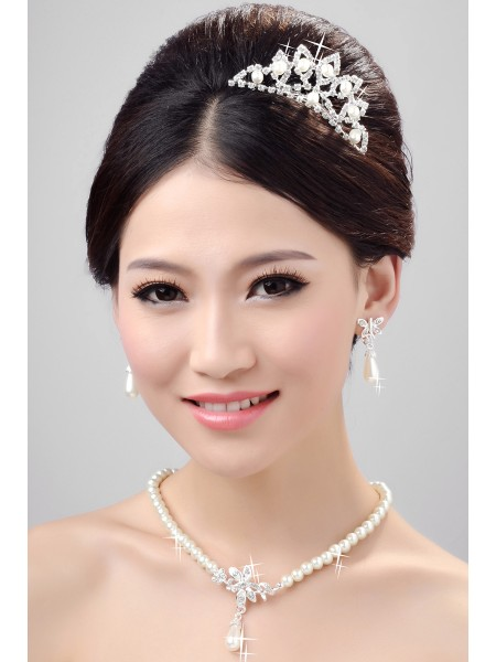 Nice Pearls Alloy Clear Crystals Wedding Headpieces Necklaces Earrings Set